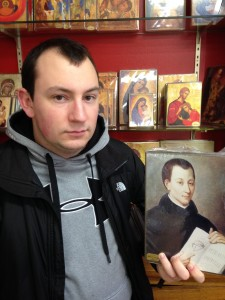 "Picture of St. Claude la Colombiere with seminarian ""look-a-like"" Ryan Adorjan."