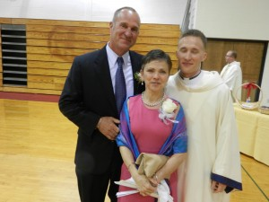 Rev. Mr. Thomas Dunn and his parents, Tom & Adele, at his diaconate ordination.