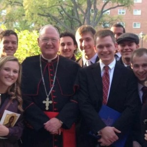 Seminarian Tom Logue and friends with Cardunal Timothy M. Dolan.