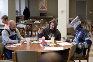 James Malik, center, in art class at St. Meinrad Seminary.